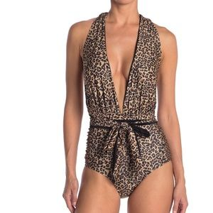 NWT Nicole Miller leopard one piece swimsuit M